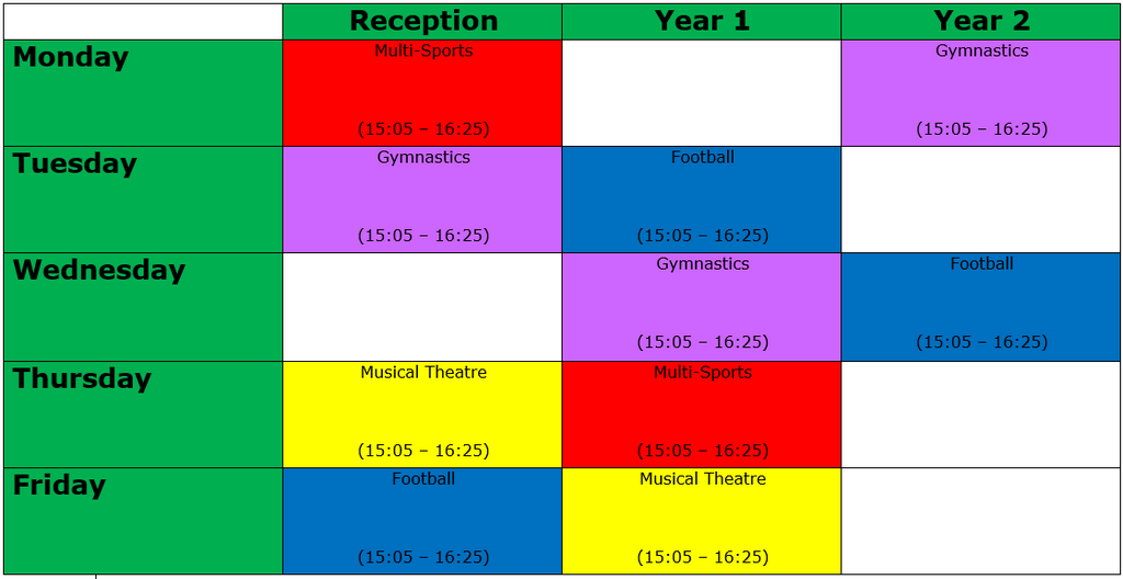 Summer 1 Timetable